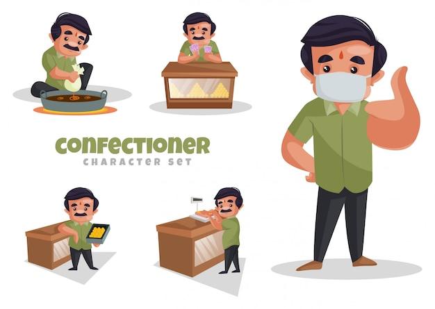 Ilustração de desenho animado do conjunto de caracteres de confeiteiro