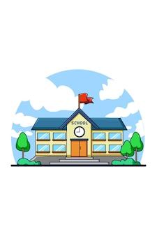 Ilustração de desenho animado do ícone de prédio escolar
