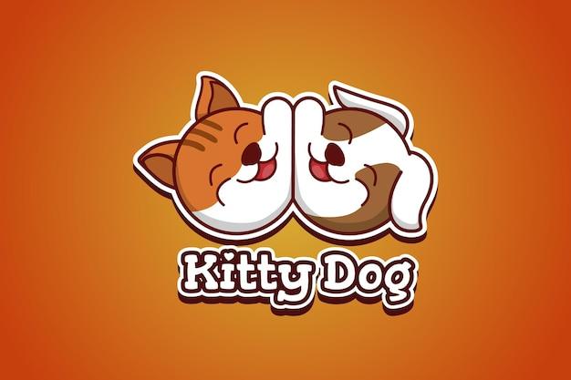 Ilustração de desenho animado do logotipo de cachorro e gato