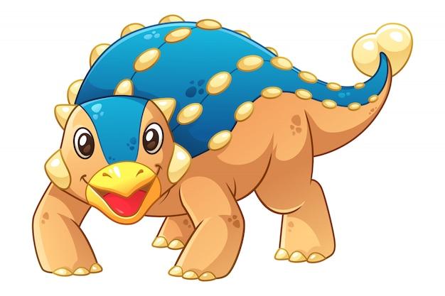 Ilustração de desenho animado do pequeno ankylosaurus