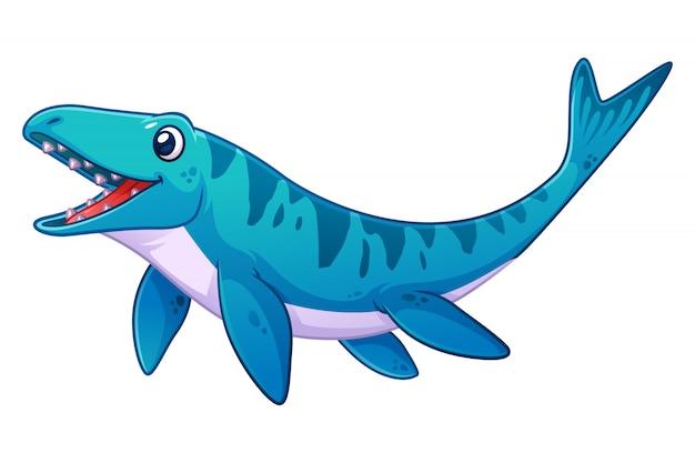 Ilustração de desenho animado do pequeno mosasaurus