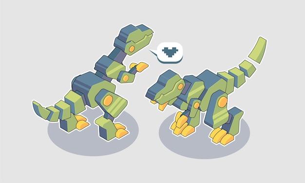 Ilustração de desenho animado do t-rex mecânico