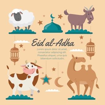 Ilustração de desenho animado eid al-adha