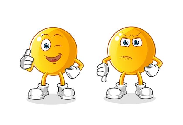 Ilustração de desenho animado emoticon polegar para cima e polegar para baixo