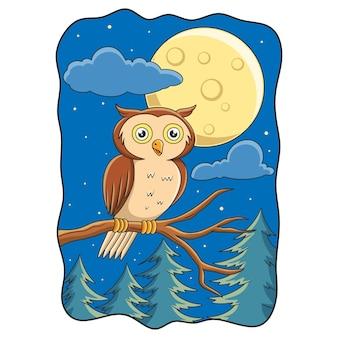 Ilustração de desenho animado empoleirada em tronco de árvore à noite