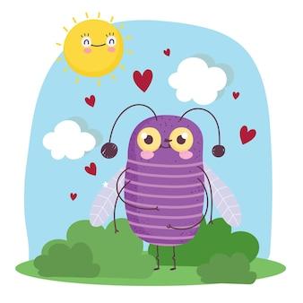 Ilustração de desenho animado engraçado bug animal corações sol céu grama