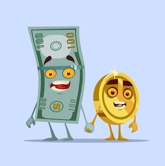 Ilustração de desenho animado feliz e sorridente com personagens de dólar e centavo