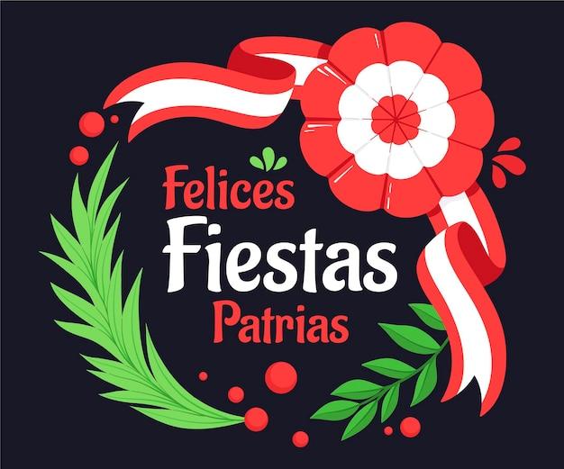 Ilustração de desenho animado fiestas patrias de peru