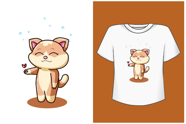 Ilustração de desenho animado gato com coração pequeno