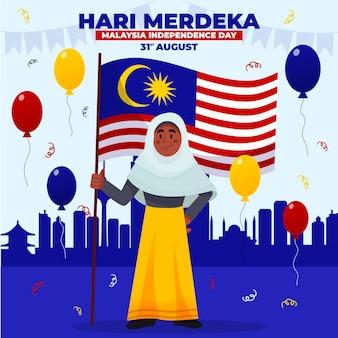 Ilustração de desenho animado hari merdeka