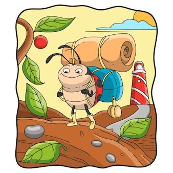 Ilustração de desenho animado joaninha segurando uma sacola com uma esteira