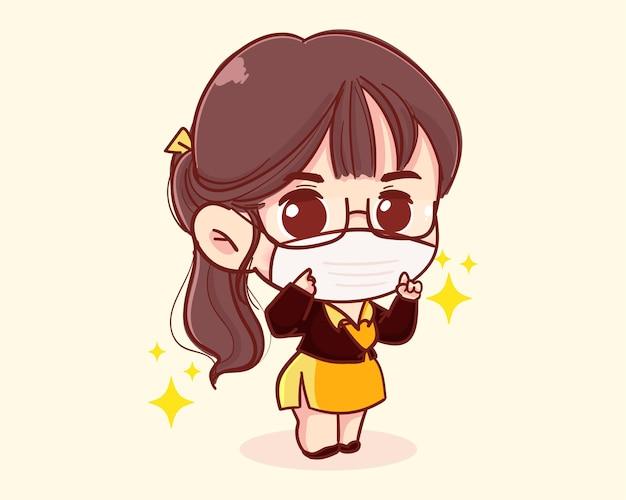 Ilustração de desenho animado jovem empresária usando máscaras
