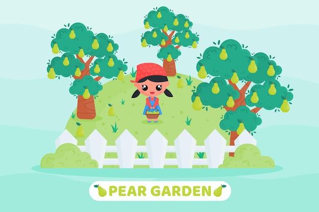 Ilustração de desenho animado linda garota colhendo pêra no jardim