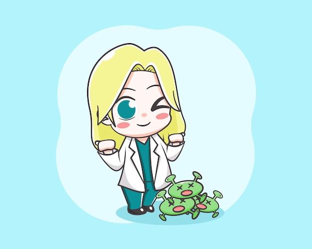 Ilustração de desenho animado linda garota médica vencendo vírus
