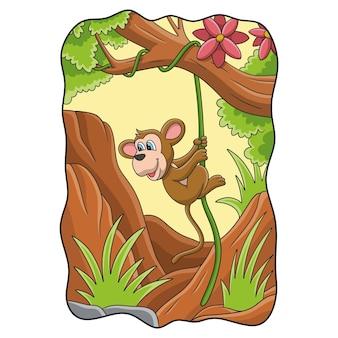 Ilustração de desenho animado macaco comendo banana na árvore