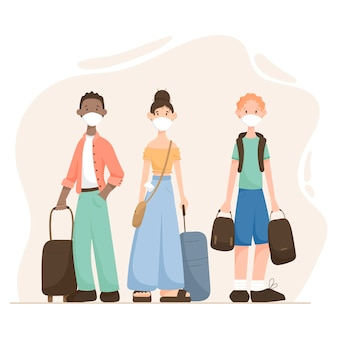 Ilustração de desenho animado moderno pessoas homem e mulher