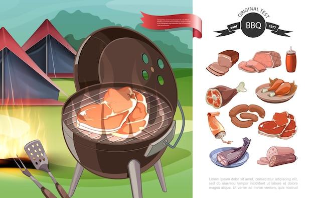 Ilustração de desenho animado para churrasco