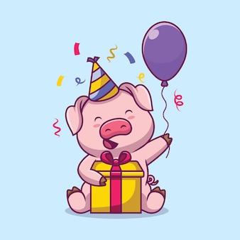 Ilustração de desenho animado para festa de aniversário de porco fofo