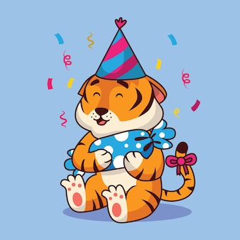 Ilustração de desenho animado para festa de aniversário de tigre fofo