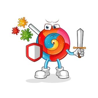 Ilustração de desenho animado pirulito contra vírus