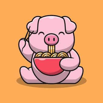 Ilustração de desenho animado por porco fofo comendo macarrão