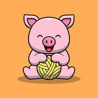 Ilustração de desenho animado por porco fofo segurando uma bola