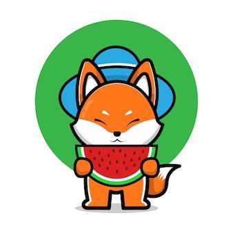 Ilustração de desenho animado raposa fofa comendo melancia