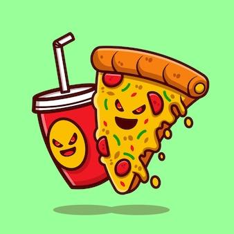 Ilustração de desenho animado refrigerante e fatia de pizza derretida