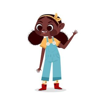 Ilustração de desenho animado sorridente garota negra