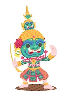 Ilustração de desenho animado tradicional thai khon yak tossakan com estilo fofo