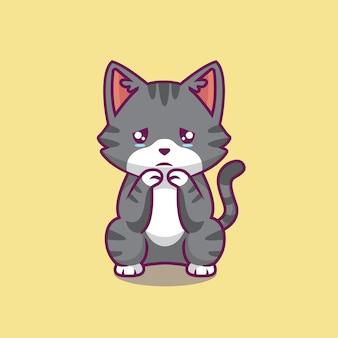 Ilustração de desenho animado triste gato fofo