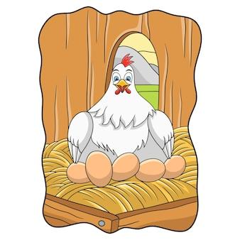 Ilustração de desenho animado: uma galinha está incubando seus ovos em sua gaiola
