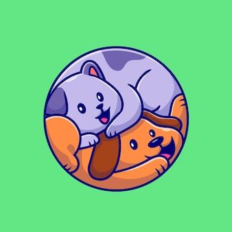 Ilustração de desenho bonito de gato e cachorro