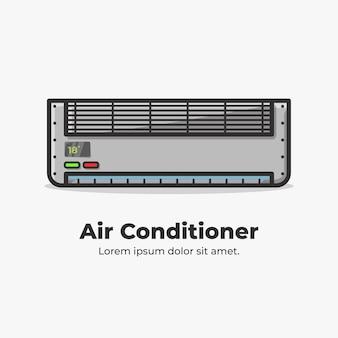 Ilustração de desenho bonito e plana de condicionador de ar