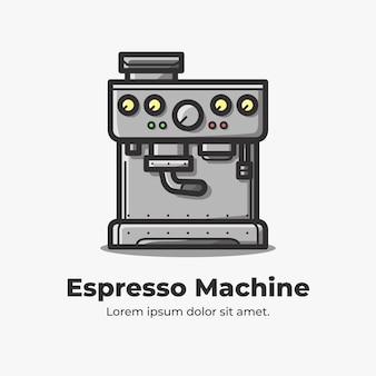 Ilustração de desenho bonito e plana de máquina de café expresso