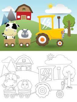 Ilustração de desenho de animais de fazenda no carrinho puxando por trator amarelo no tema campo de fazenda