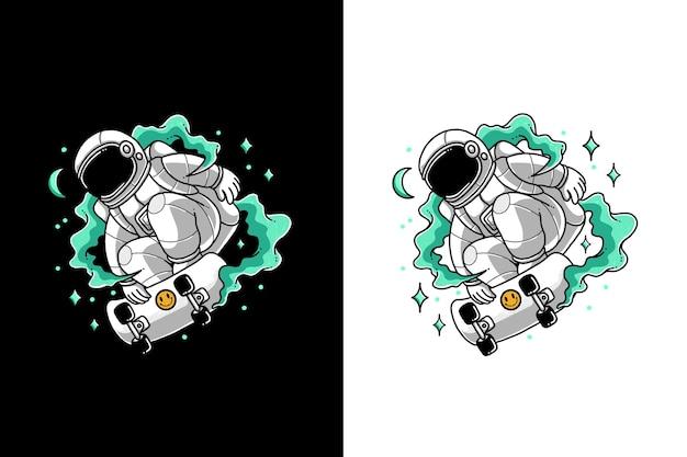 Ilustração de desenho de astronauta de skate Vetor Premium