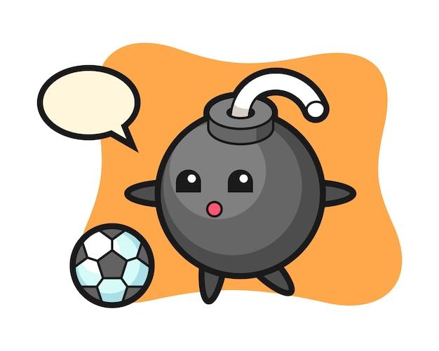 Ilustração de desenho de bomba está jogando futebol