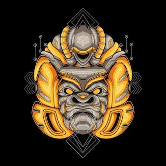 Ilustração de desenho de cabeça de gorila com capacete mascote