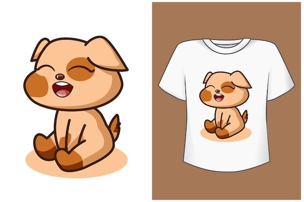 Ilustração de desenho de cachorro bebê fofo e lindo