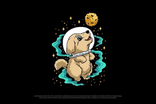 Ilustração de desenho de cão astronauta