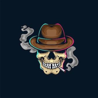 Ilustração de desenho de caveira fumando