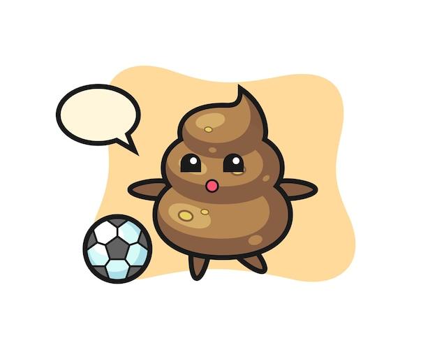 Ilustração de desenho de cocô está jogando futebol, design de estilo fofo para camiseta, adesivo, elemento de logotipo
