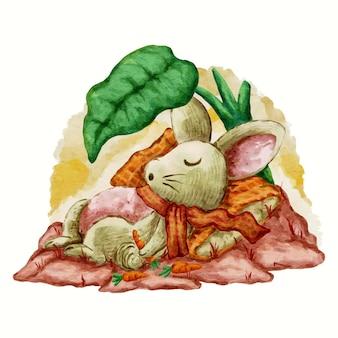 Ilustração de desenho de coelho fofo dormindo com aquarela