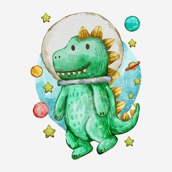 Ilustração de desenho de dinossauro fofo