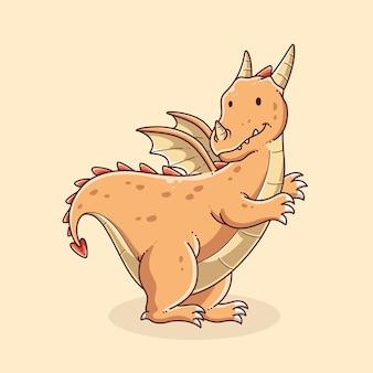 Ilustração de desenho de dragão fofo desenhado à mão