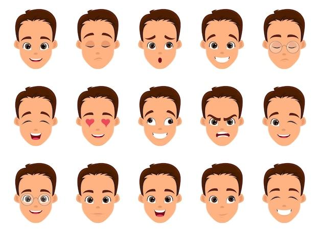 Ilustração de desenho de expressão facial de homem isolada