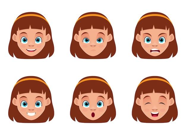 Ilustração de desenho de expressões de rosto de menina isolada