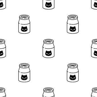 Ilustração de desenho de garrafa de leite gatinho padrão sem emenda