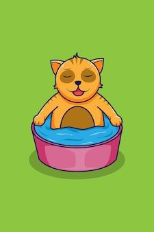 Ilustração de desenho de gato de banho